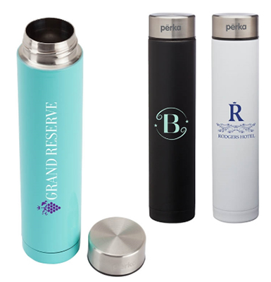 8 oz. Perka Slim Double Wall Stainless Steel Water Bottles