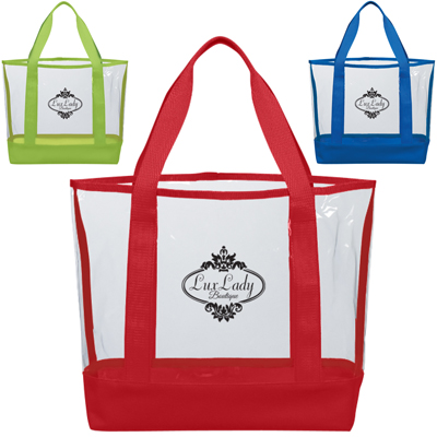 Clear Tote Bags with Colored Trim