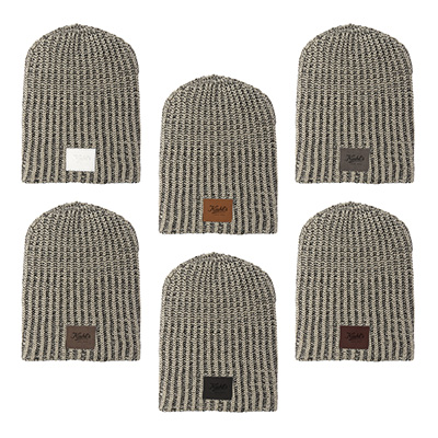 Haberdasher Knit Beanies with Leather Patch