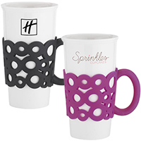 16 oz. Ceramic Mugs w/ Silicone Handle Grip