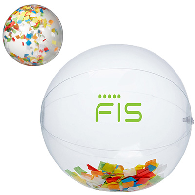 Multi-Color Confetti Filled Round Clear Beach Ball 16""