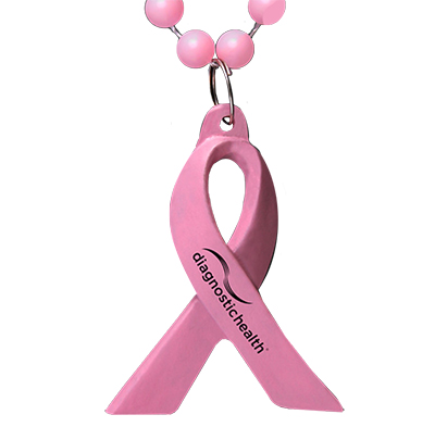 Pink Awareness Ribbon Beaded Necklaces