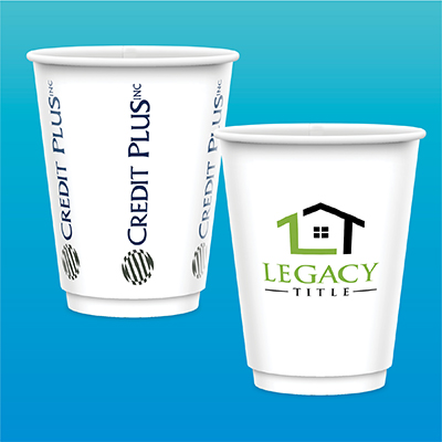 12 oz. Tall Double Wall Insulated Paper Cups - Gloss Finish
