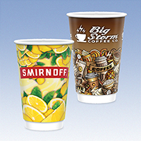 16 oz. Full Color Tall Double Wall Insulated Paper Cups - Gloss