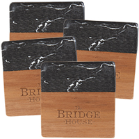 Black Marble and Wood Coaster Sets