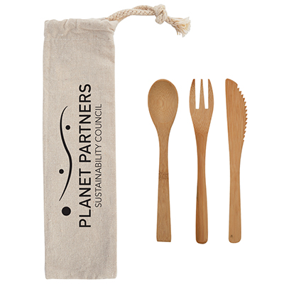 3-Piece Bamboo Utensil Sets in Travel Pouch