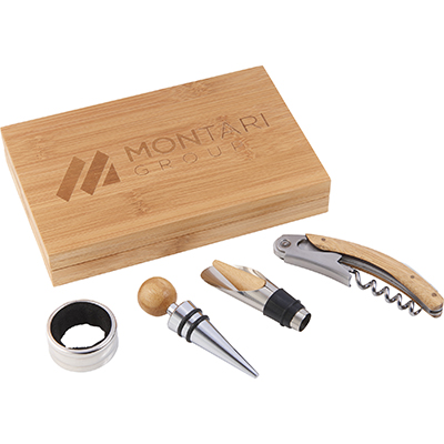 4-Piece Bamboo Wine Gift Sets