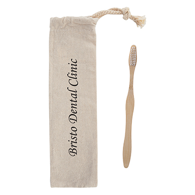 Bamboo Toothbrushes in Cotton Pouch