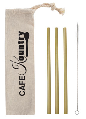 Bamboo Straw Kits in Cotton Pouch