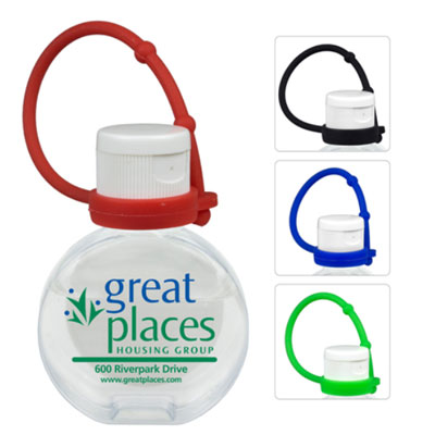 1 oz. Round Hand Sanitizers with Silicone Leash