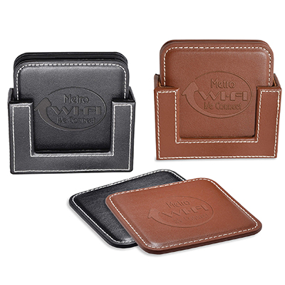 Square Leather Coaster Sets