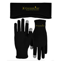 Fleece Earband and Runners Text Gloves Combo Sets
