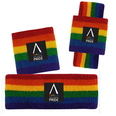 USA Terry Headband & Wristband Sets - Rainbow