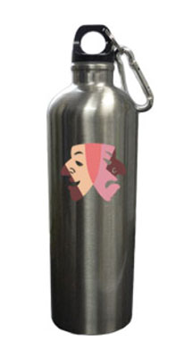26 oz. Stainless Water Bottles with Carabiner - Braille Printed