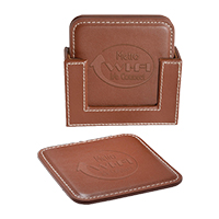 Square Leather Coaster Sets - Brown