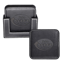 Square Leather Coaster Sets - Black