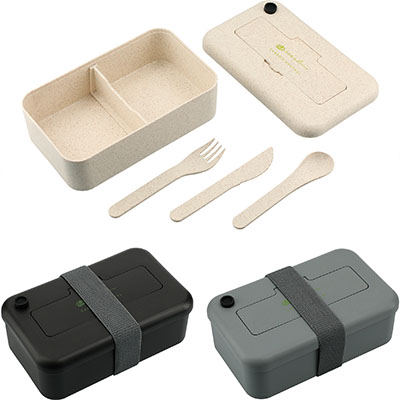Bamboo Fiber Lunch Boxes with Utensil Pocket
