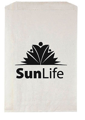 7 x 10 White Merchandise Bags with Ink Imprint