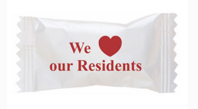 Buttermints with Stock Printed Wrapper – We Love Our Residents