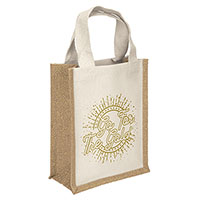 Jute Tote Bags with Gold Thread Accent