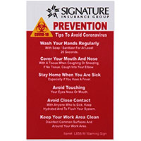 "COVID-19 Coronavirus Prevention Custom Warning Sign 2.5""x 4"" Hard 60 Mil Styrene Card - Red"