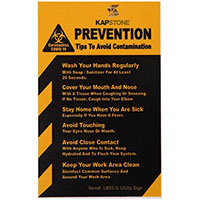 "COVID-19 Coronavirus Prevention Custom Utility Sign 2.5""x 4"" Hard 60 Mil Styrene Cards - Yellow"