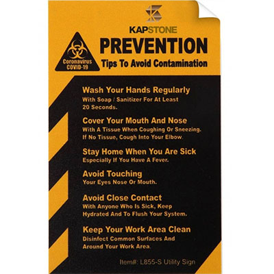 "COVID-19 Coronavirus Prevention Custom Utility Sign 2.5""x 4"" Vinyl Sticker - Yellow"
