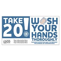 "4"" x 8"" Take 20 Wash Your Hands Stickers"