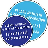 6 Feet Of Separation Circle Floor Decals w/ Stock Graphics - Two Sizes