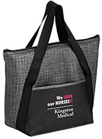 Insulated Silver & Black Non-Woven Tote Bags