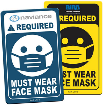 Face Mask Required Signs - 2.5 x 4""