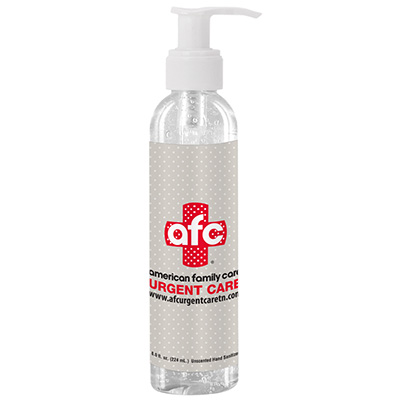8 oz. Clear Sanitizer in Clear Bottle with Pump