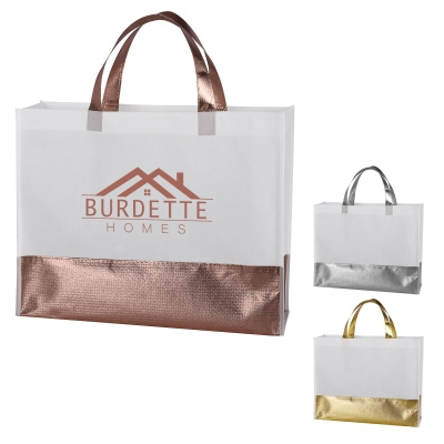 Flair Metallic Accent Non-Woven Tote Bags