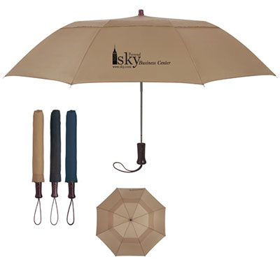 "Telescopic Folding Wood Handle Umbrellas - 44"" Arc"