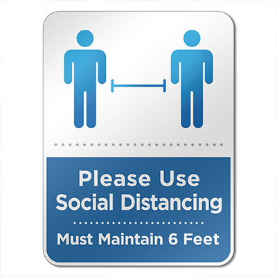 "6"" x 8"" Social Distancing Reminder Wall Signs"