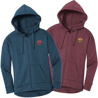 District Women's Fleece Drop Shoulder Zippered Hoodies