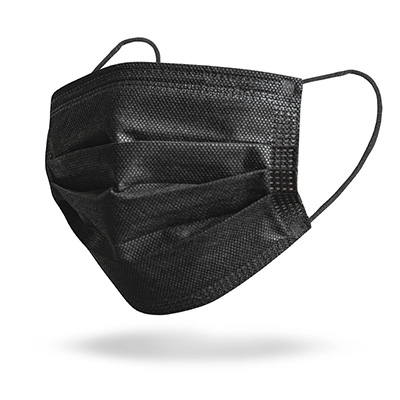 Black 3-Ply Disposable Face Masks - Blank