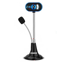 USB Webcam Microphone and LED Light Flexible Gooseneck for Live Streaming