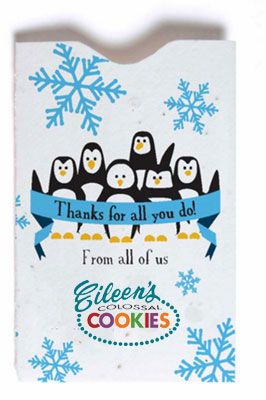 Seed Paper Gift Card Sleeves - Holiday Penguins
