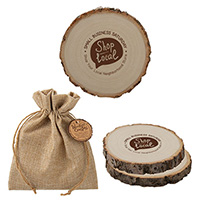 Woodlands Coasters in Burlap Bags - Set of 2