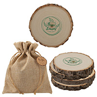 Woodlands Coasters in Burlap Bags - Set of 4