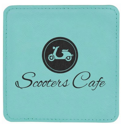 "Teal Leatherette Coasters - 4"" Square"