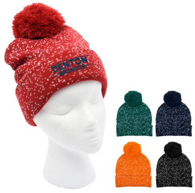 Speckled Pom Beanies with Cuff