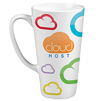 Tall White Latte Mugs with Full Color Wrap Imprint