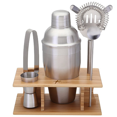 Stainless Steel Shaker Sets in Bamboo Stand