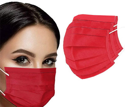 Blank Red Disposable Face Masks - Low Minimum