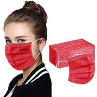 Red Disposable Face Masks - 3 Layers