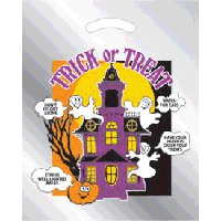 12 x 15 Metallic Haunted House Die Cut Plastic Bag