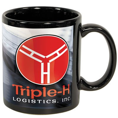 11 oz. Full Color Black Stoneware Executive Mugs