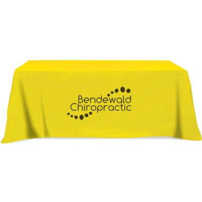 8' Fitted Poly/Cotton Blend Table Covers - Open-Back